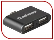 Разветвитель Defender Quadro Dual USB3.1 TYPE C - USB2.0, 2порта фото №14446
