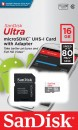 Память microSDHC 016Gb Sandisk Class10 UHS-I Ultra Android 80MB/s с ад. (SDSQUNS-016G-GN3MA) фото №14596