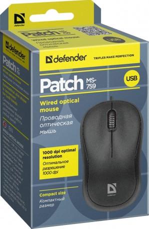 Мышь Defender MS-759 Patch черный,3 кнопки,1000 dpi | КЭШ в Кирове