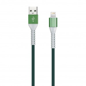 Кабель Smartbuy USB - 8-pin для Apple, TPE оплетке Flow 3D, 1м. мет.након., <2А, зеленый (iK-512FL green) фото №15233