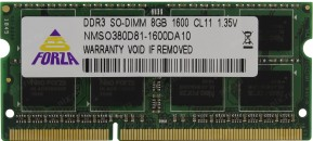 Память SO-DIMM DDRL III 08Gb PC1600 Neo Forza CL11 1.35V Retail фото №16591